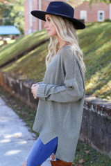 Olive - Oversized Knit Sweater Side View