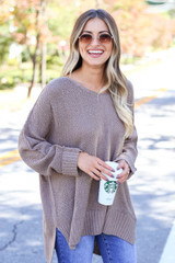 Mocha - Oversized Knit Sweater Front View