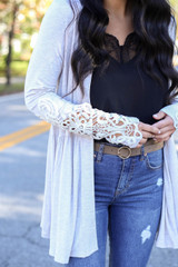 Taupe - Crochet Sleeve Babydoll Cardigan Detail View