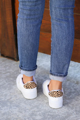 White - Platform Tennis Shoes with Leopard Heel Patch Back View