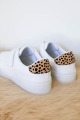 White - Platform Tennis Shoes with Leopard Heel Patch Product Shot