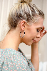 Ivory - Tortoise Flat Acrylic Earrings on Model