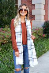 White - Plaid Fleece Scarf Full View