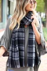 Model wearing Black Fleece Plaid Scarf