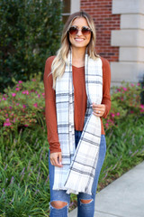 Model wearing White Fleece Plaid Scarf