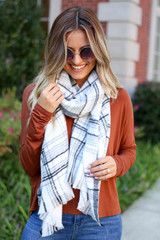 White - Plaid Fleece Scarf