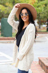 Ivory - Pocketed Popcorn Knit Cardigan Side View