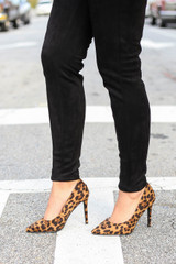 Leopard - Pointed Toe Pumps with leopard print