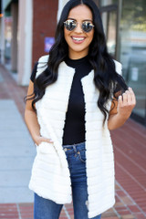 Ivory - Luxe Faux Fur Vest from Dress Up