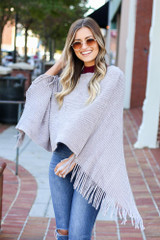 Grey - Chenille Fringe Poncho from Dress Up