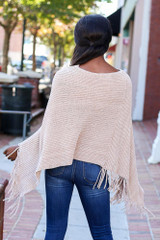 Taupe - Chenille Fringe Poncho from Dress Up