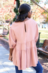 Dreya Tiered Babydoll Tunic in Blush on Dress Up Model - Back View
