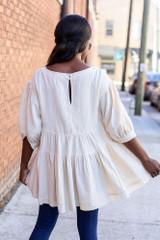 Dreya Tiered Babydoll Tunic in Ivory on Dress Up Model - Back View