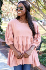 Dreya Tiered Babydoll Tunic in Blush on Dress Up Model - Front View