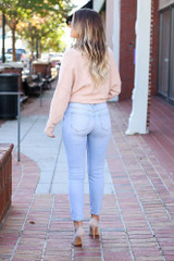 Dress Up Model wearing Light Wash Mid Rise Ankle Skinny Jeans - Back View