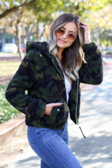 Model wearing the Camo Sherpa Cropped Jacket - Side View