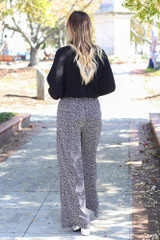 Black - Spotted Wide-Leg Pants Back View