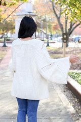 Ivory - Wide Sleeve Knit Cardigan Back View