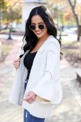 Ivory - Wide Sleeve Knit Cardigan Side View