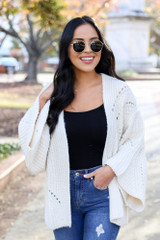 Ivory - Wide Sleeve Knit Cardigan Front View
