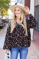 Black - Floral Wide Sleeve Blouse Front View