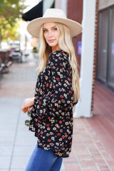 Black - Floral Wide Sleeve Blouse Side View