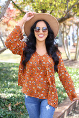 Rust - Floral Wide Sleeve Blouse Front View
