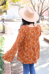 Rust - Floral Wide Sleeve Blouse Back View