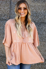 Peach - Embroidered Babydoll Top