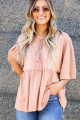 Peach - Embroidered Babydoll Top Detail View