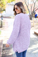 Purple - Luxe Chenille Cardigan Back View
