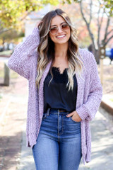 Dress Up Model wearing Purple Luxe Chenille Cardigan Front View