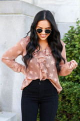 Taupe - Star Flutter Blouse from Dress Up