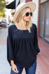 Black - Batwing Sleeve Blouse Front View