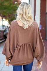 Dress Up Model wearing Taupe Batwing Sleeve Blouse Back View