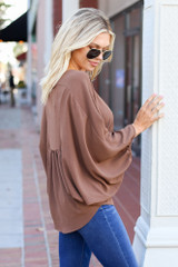 Taupe - Batwing Sleeve Blouse Side View