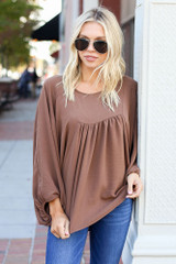 Taupe - Batwing Sleeve Blouse