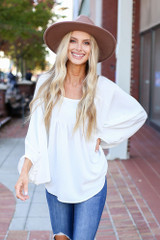 White - Batwing Sleeve Blouse