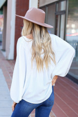 White - Batwing Sleeve Blouse Back View