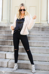 Ivory - Cropped Faux Fur Jacket Full View