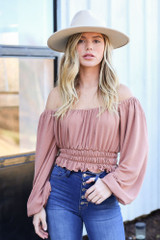 Taupe - Off the shoulder Smocked Waist Blouse