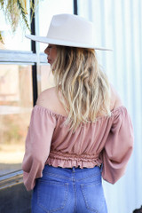 Taupe - Off the shoulder Smocked Waist Blouse Back View