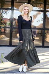 Olive - Button Front Tiered Skirt from Dress Up