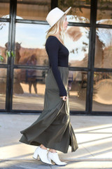 Dress Up Model wearing the Olive Button Front Tiered Skirt - Side View