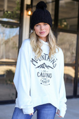 White - Gone Adventuring Cowl Neck Pullover