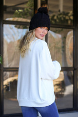 White - Gone Adventuring Cowl Neck Pullover Back View