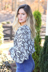 Grey - Snakeskin Cropped Balloon Sleeve Blouse Side View