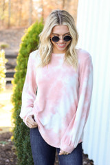 Blush - Tie-Dye Cloud Fleece Pullover Front View