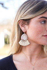 Taupe - Tassel Statement Earrings
