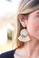 Taupe - Tassel Statement Earrings Detail View